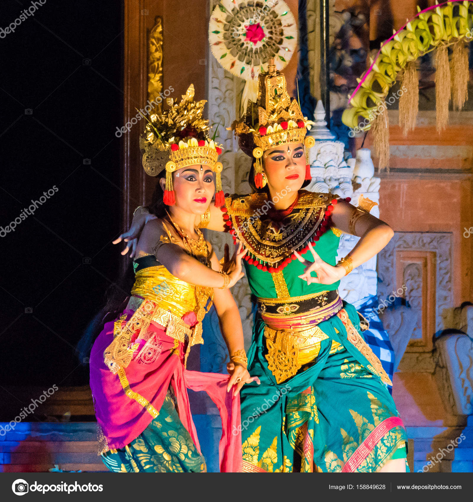 Bali dancers performing Ramayana Ballet at Ubud Royal Palace in Ubud, Bali, Indonesia